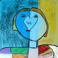 """Artist Statement: Kyanna,age 11 """"My life is always changing from dark to light. I have green paper on the right side of my picture because green is a happy color for me."""""""